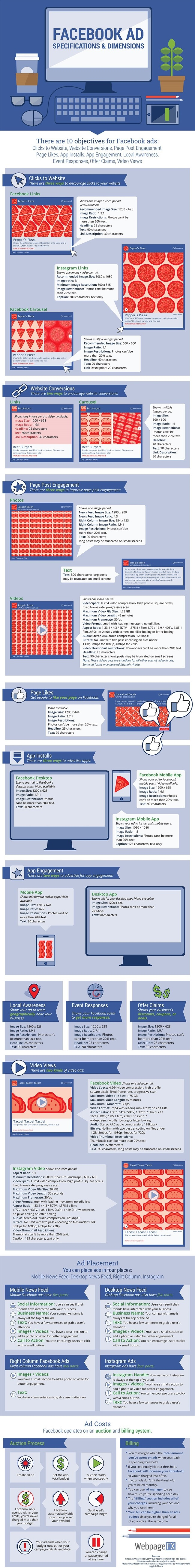 Ad Specs for Facebook and Instagram Infographic